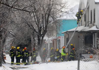 Fire crews at the scene of a blaze on Bannerman Avenue in the North End of Winnipeg the morning of Wednesday, Feb. 1, 2012. Two people were taken to hospital. Damage is estimated at $250,000. (Courtesy Stan Milosevic)