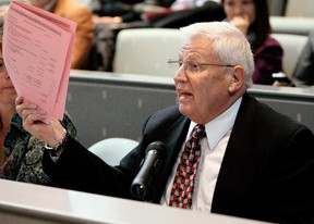 Former Edmonton mayor Cecil Purves speaks during a public hearing on the downtown arena at Edmonton City Council, Tuesday Oct. 25, 2011.  (DAVID BLOOM/EDMONTON SUN FILE)