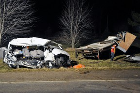 Ontario Provincial Police says the driver of the van in the fatal crash Monday that killed 11 people, including the driver, failed to stop for a stop sign. (David Ritchie/QMI AGENCY)