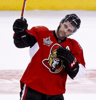 Ottawa Senators Chris Phillips acknowledges the crowd after being selected the gamers first star in his 1000th NHL game against the Nashville Predators at Scotiabank Place in Ottawa, Ontario. Thursday February 9,2012. (ERROL MCGIHON/THE OTTAWA SUN/QMI AGENCY).