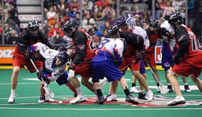 The Toronto Rock hope to redeem themselves Friday night after last week's 14-8 loss to the Philadelphia Wings at the ACC. The second-place Rock play host to Rochester. (MIKE PEAKE/ Toronto Sun)