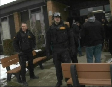 Police secure the scene of a shooting at Chardon High School in Chardon, Ohio February 27, 2012.   REUTERS/Courtesy of WKYC Cleveland