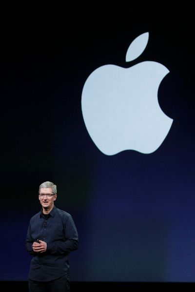 CEO Tim Cook speaks during an Apple event in San Francisco March 7, 2012.  REUTERS/Robert Galbraith