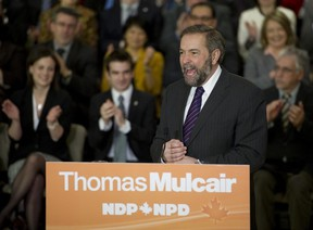 Newly-elected leader of the NDP Thomas Mulcair addresses his caucus for the first time on Parliament Hill in Ottawa March 28, 2012.         (Chris Roussakis/QMI Agency)