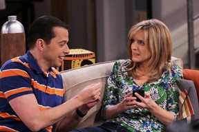 Alan (Jon Cryer) and Lyndsey (Courtney Thorne-Smith) in Two and a Half Men, Feb. 13, 2012 on the CBS Television Network. (Robert Voets/Warner Bros)
