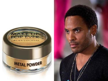 Product: MAKE UP FOR EVER Metal Powder #1Price: $25Used as gold eyeliner on Lenny Kravitz' character Cinna. (Supplied)