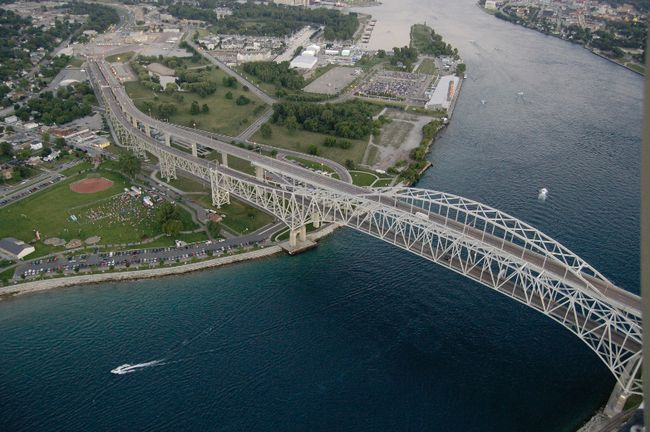 Aerial shot of St. Clair River.