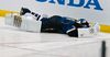 Blues goaltender Jaroslav Halak lies on the ice after being hit by teammate Barret Jackman during Game 2 of their NHL Western Conference quarterfinal series against the Sharks at the Scottrade Center in St. Louis, Miss., April 14, 2012. (SARAH CONARD/Reuters)