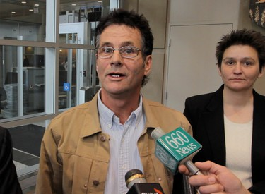 David Milgaard speaks briefly with reporters in Calgary, Alberta, on November 14, 2011. Milgaard was convicted of raping and murdering 20-year-old nursing assistant Gail Miller in 1969. In 1997, a DNA laboratory released a report confirming that semen samples on Miller's clothing did not originate with Milgaard, for all intents and purposes clearing Milgaard of the crime. (Mike Drew/QMI Agency)