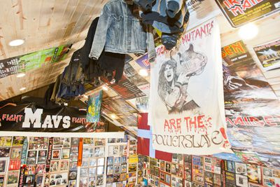 Jackets, some worn by Iron Maiden crew members hang from the rafters in this room dedicated to the British band. The 'Fight Mavs Fight' poster with Eddie on the right side was made for the collector's son's hockey team, getting a positive reaction at every game. (Sebastien Perth/Winnipeg Sun)