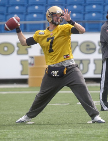 Blue Bomber #7 Alex Brink throws a ball during mini training camp at Canad Inns Stadium in Winnipeg.  Friday, April 27, 2012.  Chris Procaylo - QMI Agency