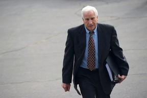Former Penn State assistant football coach Jerry Sandusky departs after jury selection in his child sex abuse trial in Bellefonte, Pa., June 5, 2012.  Sandusky was found guilty of 45 child sex abuse charges on June 22, 2012. REUTERS/Mark Makela