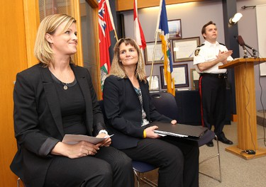 From left, Christy Dzikowicz, Director of missing children services for the Canadian Centre for Child Protection, Det.-Sgt. Shaunna Neufeld, head of the Winnipeg Police Service Missing Persons Unit, and Winnipeg Police Service Insp. Gord Perrier take part in a news conference Mon., May 28, 2012, at the Public Safety Building to outline how Dominic Maryk, 11, and his sister Abby Maryk, 9, were safely returned to their mother Emily Cablek. The kids were found in Guadalajara, Mexico, on May 25 and their father, Kevin Douglas Maryk, was arrested with another man for child abduction. JASON HALSTEAD/WINNIPEG SUN QMI AGENCY