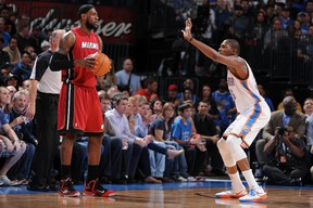 LeBron James (left) and Kevin Durant are the two best players in the NBA. Now they battle in Game 1 of the NBA final Tuesday night in Oklahoma City. (Getty Images)