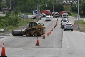 Road work affects traffic in different parts of the city.