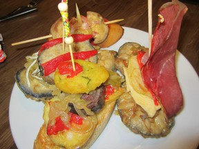 A tapas (small plate) combo from Pamplona, Spain.