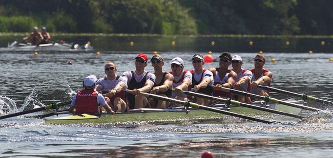 Members of the Canadian Men's 8 rowing team train for the London Olympics in Burnaby, B.C. on July 5, 2012. (Andy Clark/Reuters)