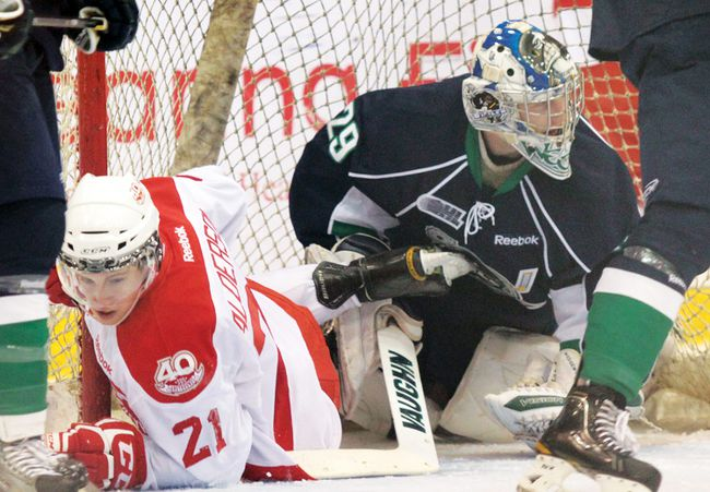 Soo Greyhounds forward Brandon Alderson scored a hat trick in Saturday's 7-3 win over the Plymouth Whalers....File Photo