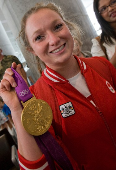 Trampolinist Rosie MacLennan — and Canada's only gold medal of London 2012 — at Pearson airport Monday, Aug. 13, 2012. (DAVE THOMAS/Toronto Sun)