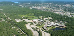 An aerial view of Nipissing University.