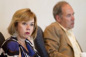 Councillors Linda Sloan (left) and Ben Henderson listen during a Community Services Committee held at Edmonton City Hall in Edmonton, Alberta on Aug. 20, 2012. Topics discussed included a potential beach for William Hawrelak Park and the future of a proposed firehall in Rossdale. IAN KUCERAK/EDMONTON SUN/QMI AGENCY
