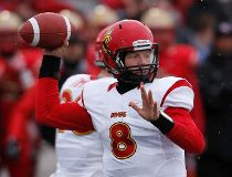 Buckley drops back to pass in the Vanier Cup