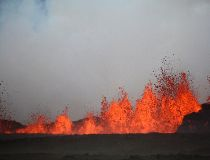 View of lava flowing on the the ground after the eruption of Bardabunga volcano