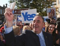 """Scotland's First Minister Alex Salmond takes a """"selfie"""" photograph as he campaigns through Largs, Ayrshire"""