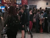 The crowd inside Keele station Tuesday morning after a portion of Line 2 was suspended. (MARYAM SHAH/Toronto Sun)