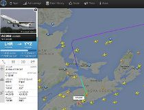 An Air Canada flight from London's Heathrow Airport to Toronto's Pearson International Airport was diverted to Halifax. (Screenshot via flightradar24.com)
