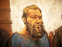 Muhanad Mahmoud al Farekh appears in court in New York in this April 2, 2015 court sketch. Al Farekh, a U.S. citizen accused of training with al Qaeda in Pakistan and conspiring to kill Americans appeared in federal court in New York April 2, 2015 to face