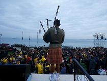 A bagpiper performs during a dawn ceremony marking the 100th anniversary of the Battle of Gallipoli, at Anzac Cove in Gallipoli