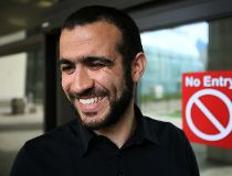 Omar Khadr speaks outside court