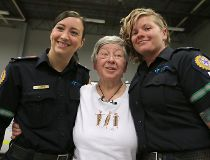 patient Marilyn Stallworthy paramedics Brynna Jesse and Janelle Duncan ems