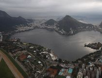 This July 27, 2015 aerial photo shows the Rodrigo de Freitas Lake in Rio de Janeiro, Brazil. An Associated Press analysis of water quality found dangerously high levels of viruses and bacteria from human sewage in Olympic and Paralympic venues. The Rodrig