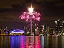 Fireworks explode over the Toronto skyline, during the opening ceremony for the Pan Am Games in Toronto, Friday, July 10, 2015. (AP Photo/Rebecca Blackwell)