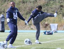 Kashif Moore (L) and Curtis Steele of the Toronto Argonauts during practice in Toronto, Ont. on Saturday October 3, 2015. Veronica Henri/Toronto Sun/Postmedia Network
