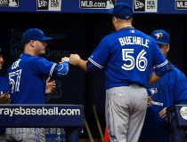 Oct 4, 2015; St. Petersburg, FL, USA; Toronto Blue Jays starting pitcher Mark Buehrle (56) is taken out of the game during the first inning against the Tampa Bay Rays at Tropicana Field. Mandatory Credit: Kim Klement-USA TODAY Sports