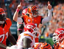 Cincinnati Bengals quarterback Andy Dalton (14) reacts to converting the two-point conversion scored by running back Jeremy Hill (not pictured) against the Kansas City Chiefs at Paul Brown Stadium. The Bengals won 36-21. Aaron Doster-USA TODAY Sports