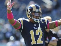 Wide receiver Stedman Bailey #12 of the St. Louis Rams dances during warm ups piror to the game against the Philadelphia Eagles on October 5, 2014 at Lincoln Financial Field in Philadelphia, Pennsylvania.   Evan Habeeb/Getty Images/AFP