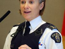 RCMP traffic Inspector Joanne Keeping speaks about the start of tougher drunk driving laws at a press conference in Winnipeg, Man. Tuesday December 1, 2015.