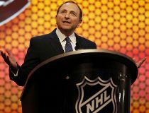 NHL commissioner Gary Bettman addresses the crowd before the 2014 NHL Draft at Wells Fargo Center. Bill Streicher-USA TODAY Sports