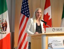 Minister of Environment and Climate Change Catherine McKenna speaks during the release the State of North America's Birds report at the Canada Wednesday, May 18, 2016 in Ottawa.