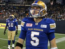 Winnipeg Blue Bombers QB Drew Willy looks skyward after throwing an interception against the Montreal Alouettes during second-quarter CFL action at Investors Group Field Winnipeg on Fri., June 24, 2016. Kevin King/Winnipeg Sun/Postmedia Network