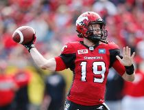 Calgary Stampeders' quarterback Bo Levi Mitchell during first half CFL football action against the Winnipeg Blue Bombers in Calgary, Alberta on Saturday, Sept. 24, 2016. THE CANADIAN PRESS/Larry MacDougal