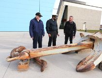 The biggest anchor ever chained by Canada's navy has found its final resting place in coast-less Calgary.