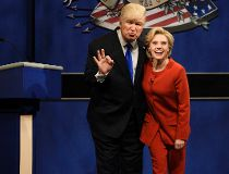 "In a Saturday, Oct. 1, 2016 file photo provided by NBC, Alec Baldwin, left, as Republican presidential candidate, Donald Trump, and Kate McKinnon, as Democratic presidential candidate, Hillary Clinton, perform on the 42nd season of ""Saturday Night Live,"""