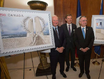 Gov. Gen. David Johnston, Bruce Burrows, chair of the 2017 Vimy Reception Committee, and French Ambassador to Canada Nicolas Chapuis