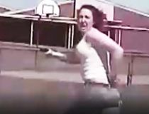 Madison Dickson, 21, is seen on police dashcam video running from cops.