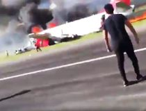 Passenger video of a Peruvian Airlines flight catching fire upon landing.